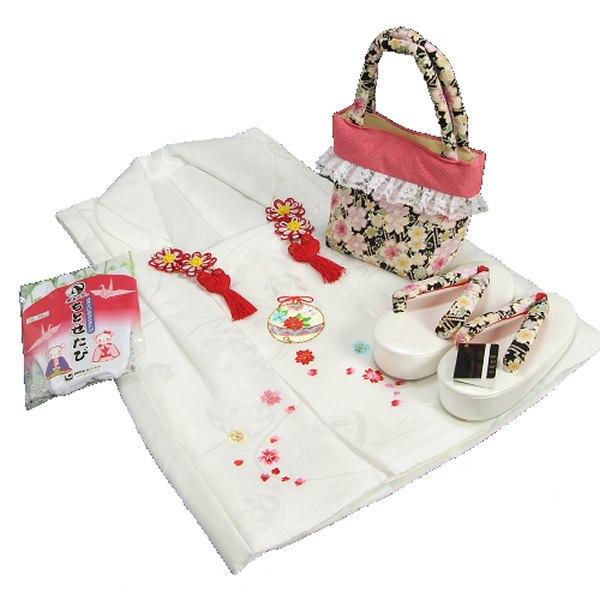 七五三 3歳から5歳用 正絹被布草履バッグセット 黒 桜柄 被布白地 足袋付きセット 日本製