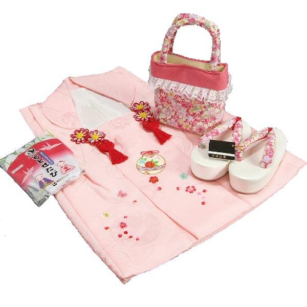 七五三 3歳から5歳用 正絹被布草履バッグセット ピンク 鈴 桜柄 被布ピンク地 足袋付きセット 日本製