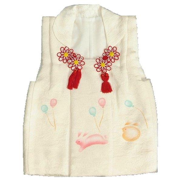 七五三 正絹被布 着物 3歳 白 うさぎ 風船 手描き ひな祭り お正月 桜地紋生地 日本製