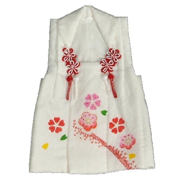 七五三 正絹被布 着物 3歳 白 本梅手絞り 手挿し 金コマ刺繍 ひな祭り お正月 地紋生地 日本製