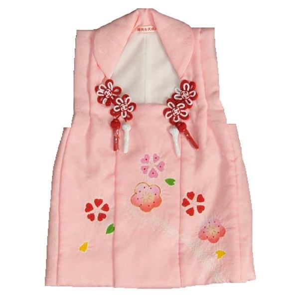 七五三 正絹被布 着物 3歳 ピンク 本梅手絞り 手挿し 金コマ刺繍 ひな祭り お正月 地紋生地 日本製