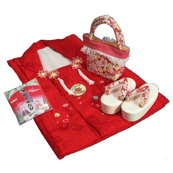 七五三 3歳から5歳用 正絹被布草履バッグセット 赤色 鈴 桜柄 被布赤地色 足袋付きセット 日本製