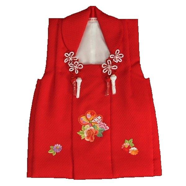 七五三 正絹被布 着物 3歳 赤 刺繍捻り梅 ひな祭り お正月 唐絞りふくれ生地 日本製