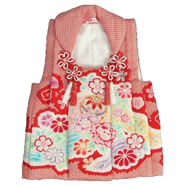 七五三 正絹被布 着物 3歳 赤 まり 総本手絞り 金コマ刺繍使い ひな祭り お正月