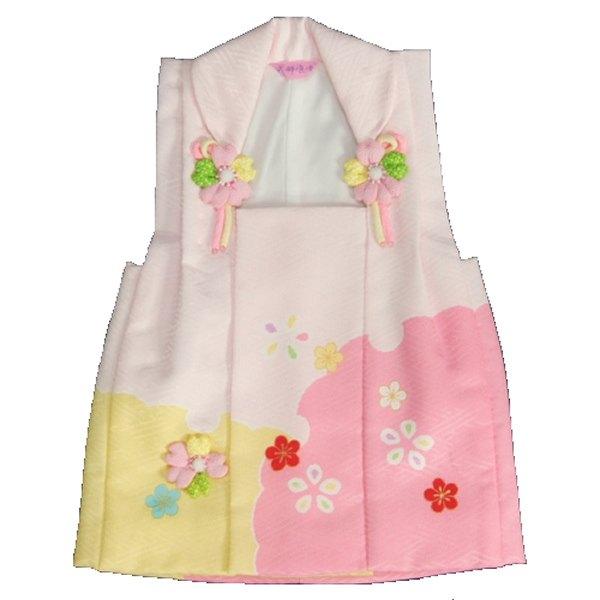 式部浪漫被布 着物 三歳 濃淡ピンク黄色染め分け 桜モチーフ サヤ地紋 七五三 ひな祭り お正月 日本製