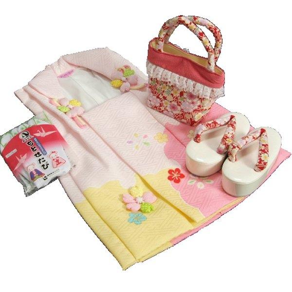 七五三 3歳から5歳用 式部浪漫ブランド被布草履バッグセット 赤鼻緒 被布ピンク地染め分け 足袋付きセット 日本製
