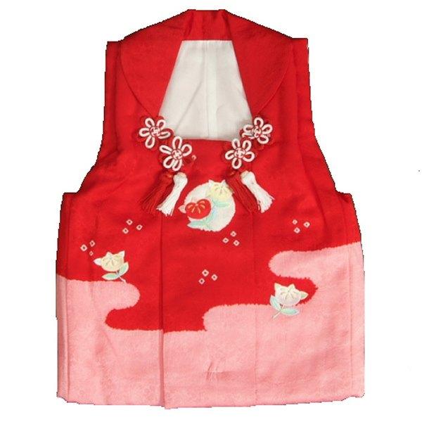 七五三 正絹被布 着物 3歳 赤 濃ピンク染め分け 橘刺繍 本絞り ひな祭り お正月 サヤ地紋生地 日本製