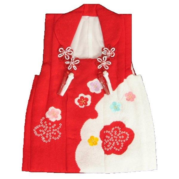 七五三 正絹被布 着物 3歳 赤 雪輪本絞り 華刺繍使い ひな祭り お正月 地紋生地 日本製