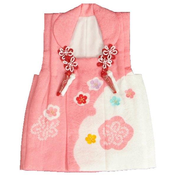 七五三 正絹被布 着物 3歳 ピンク 雪輪本絞り 華刺繍使い ひな祭り お正月 地紋生地 日本製