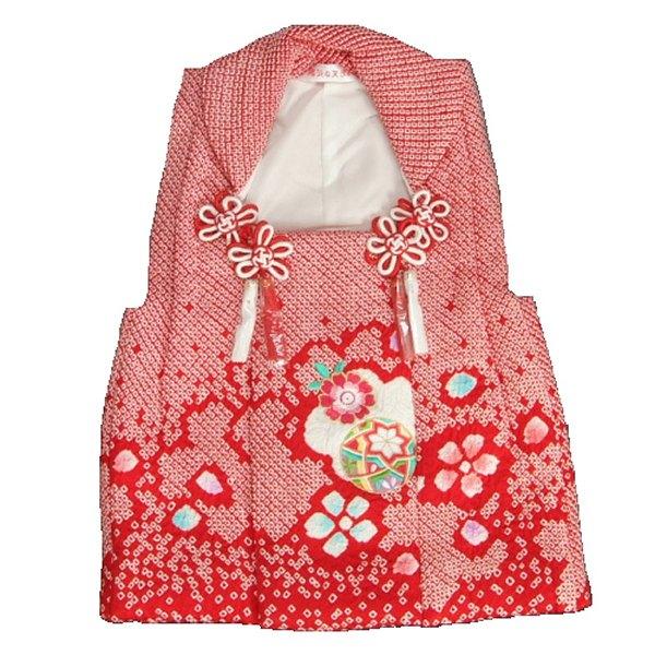 七五三 正絹被布 着物 3歳 赤 桜 まり 総本手絞り 刺繍使い ひな祭り お正月