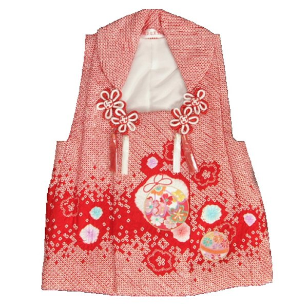 七五三 正絹被布 着物 3歳 赤 鈴 総本手絞り 刺繍使い ひな祭り お正月