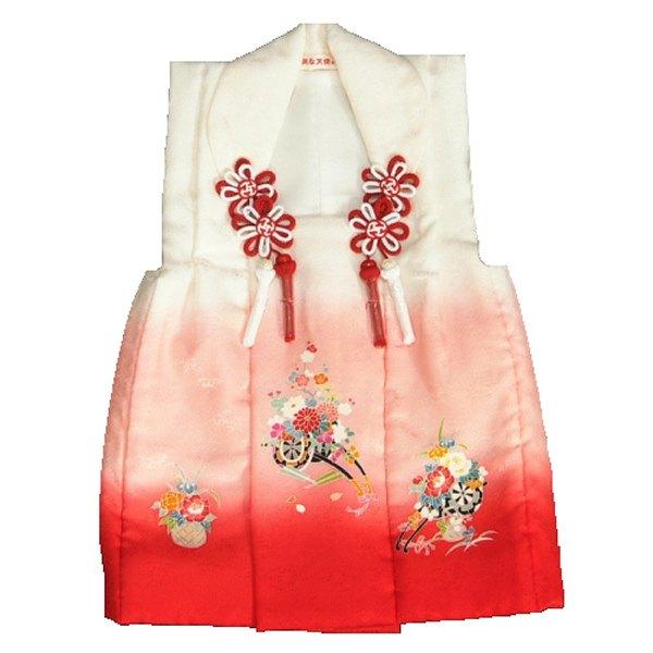 七五三被布 正絹 三歳 白濃淡ピンク染め分けぼかし 花車 サヤ地紋生地 ひな祭り お正月 日本製