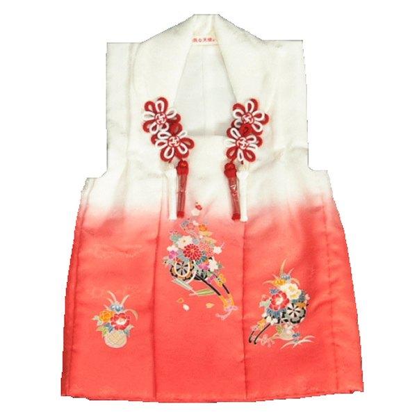 七五三被布 正絹 三歳 白ピンク迫り上げぼかし 花車 サヤ地紋生地 ひな祭り お正月 日本製