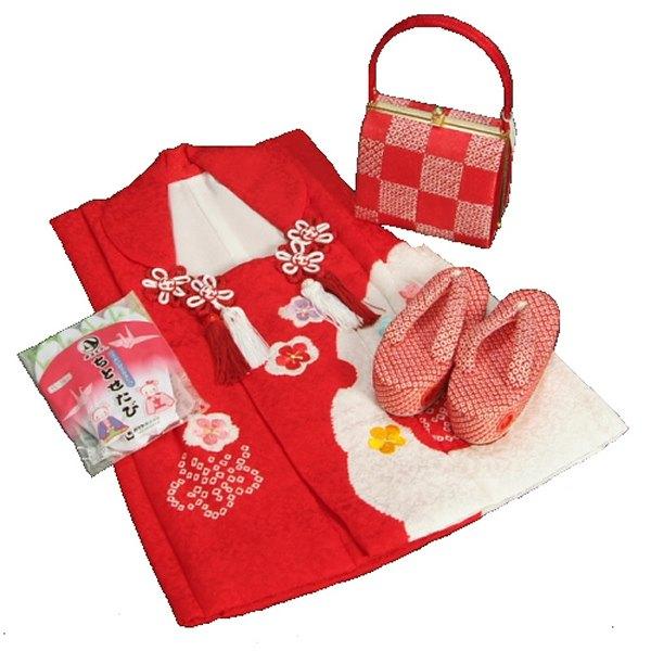 七五三 3歳から5歳用 正絹 本絞り 被布草履バッグセット 市松 赤色鼻緒 被布赤雪輪絞り 足袋付きセット 日本製