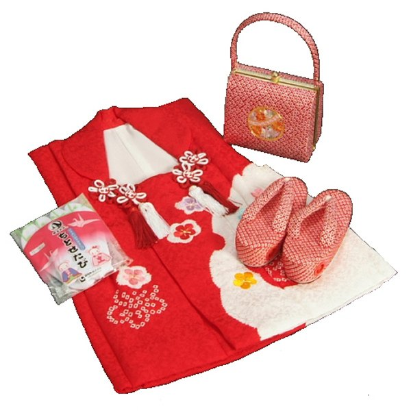 七五三 3歳から5歳用 正絹 本絞り 被布草履バッグセット まり 赤色鼻緒 被布赤雪輪絞り 足袋付きセット 日本製