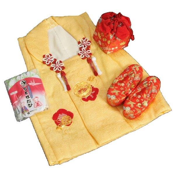 七五三 3歳から5歳用 正絹 本絞り 被布草履きんちゃくセット 金コマ刺繍まり 赤色鼻緒 被布黄色 足袋付きセット 日本製