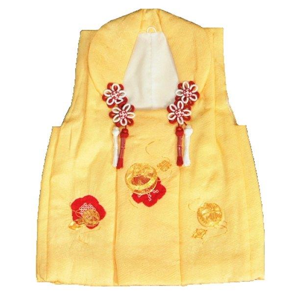 七五三 正絹被布 着物 3歳 黄色 本梅絞り 金コマ刺繍まり ひな祭り お正月 地紋生地 日本製