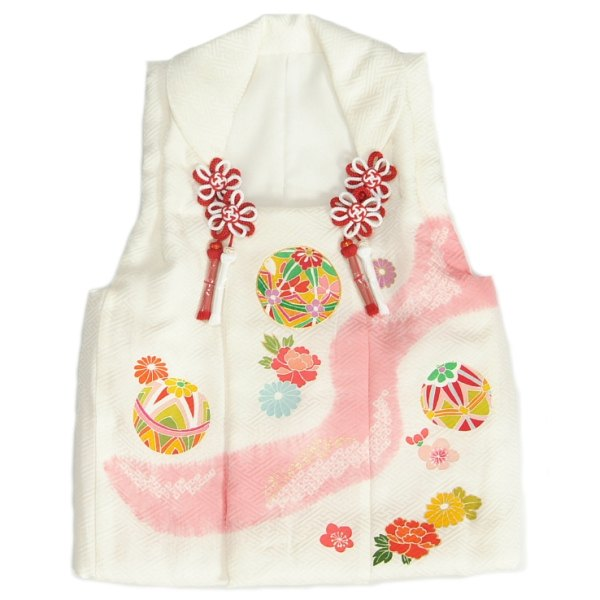 七五三 正絹被布 着物 3歳 白 ピンク染め 手染め 手描き 本絞り ひな祭り お正月 サヤ地紋生地 日本製