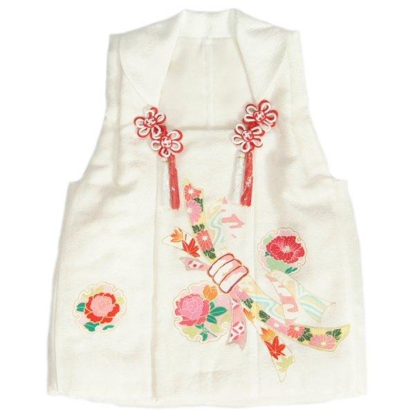 正絹被布 着物 3歳 白色 お印合せ柄 手描き 丹後産綸子生地 七五三 ひな祭り お正月 日本製