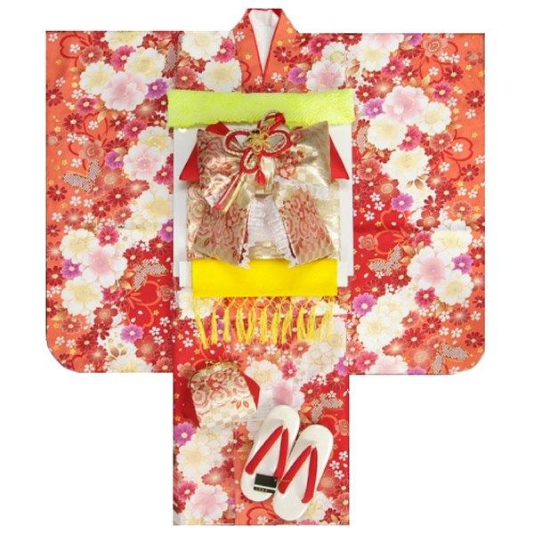 七五三着物7歳 着物フルセット マユミブランド 濃淡赤色ぼかし着物 ゴールド市松帯セット 大小桜柄 足袋に腰紐など20点フルセット