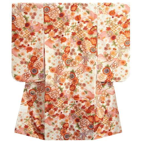 七五三 着物 7歳 女の子 四つ身着物 マユミブランド 白地色 桜 雪輪柄 桜地紋生地