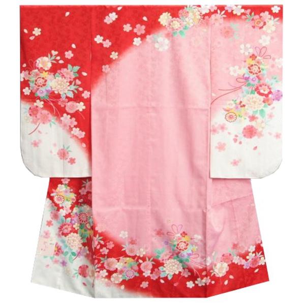 七五三 着物 7歳 女の子 白ピンク赤染め分け着物 桜 牡丹 桜地紋生地