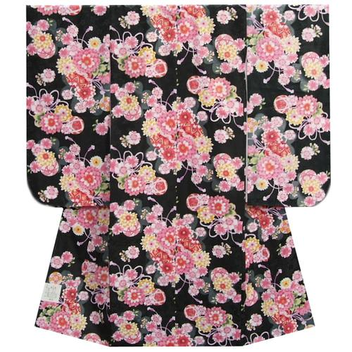 七五三 着物 7歳 女の子四つ身着物 黒色 桜 ぼたん菊 桜地紋