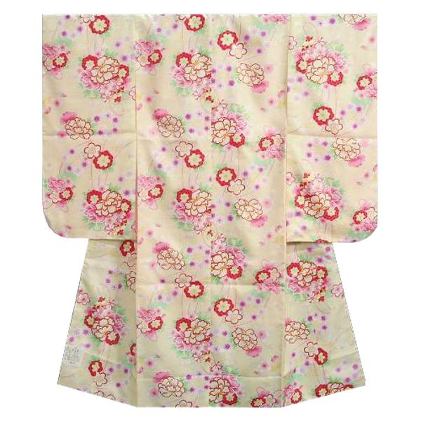 七五三着物 七歳女の子四つ身着物 黄色 桜 芍薬 牡丹