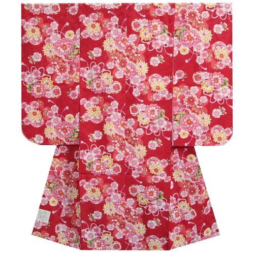 七五三 着物 7歳 女の子四つ身着物 赤色 桜 ぼたん菊 桜地紋