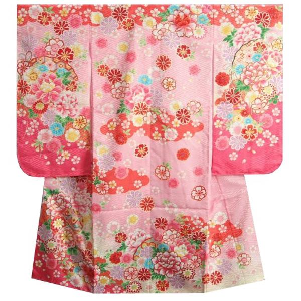 七五三着物 7歳 女の子四つ身着物 濃淡ピンク染め分け まり 刺繍牡丹菊 ぼかし地紋生地