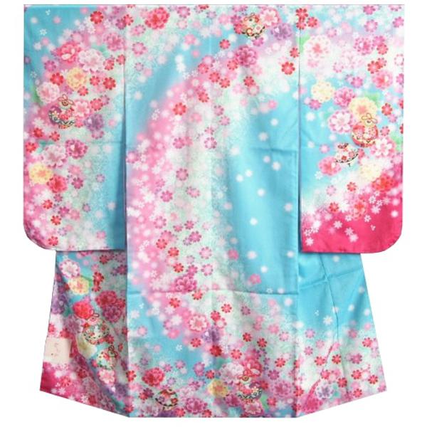 七五三着物7歳 女の子四つ身着物 水色ピンクぼかし流れ染め 金糸刺繍 牡丹 八重桜