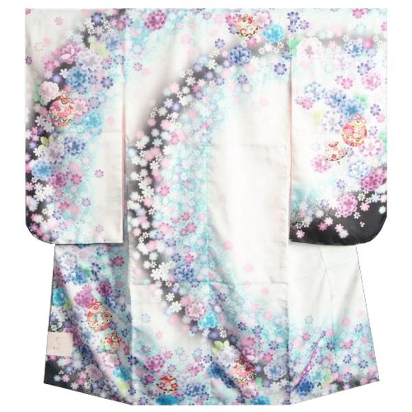 七五三着物7歳 女の子四つ身着物 白色紫黒ぼかし流れ染め 金糸刺繍 牡丹 八重桜