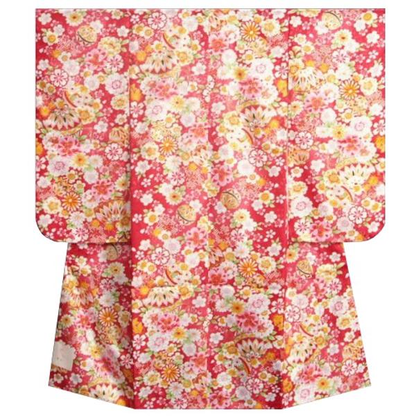 七五三着物 七歳 女の子四つ身着物 赤色地 桜 四季華 桜地紋