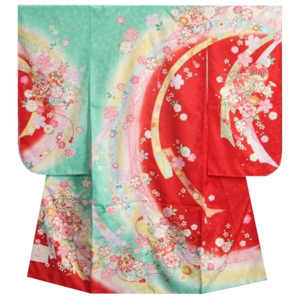 七五三着物 7歳女の子 四つ身着物 エメラルドグリーン色地三色ぼかし染め 桜 まり 桜地紋