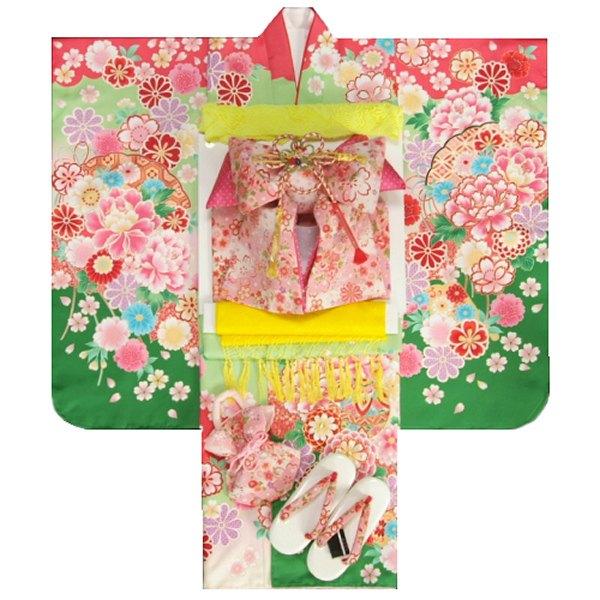 七五三 着物 7歳 着物フルセット 黄緑ピンク色染分け まり 刺繍牡丹菊 ピンクちりめん友禅柄帯セット 足袋に腰紐など20点フルセット