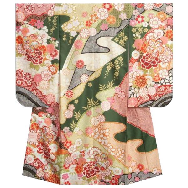 七五三着物7歳 女の子四つ身着物 式部浪漫 濃緑地色 華尽くし 疋田友禅柄 日本製