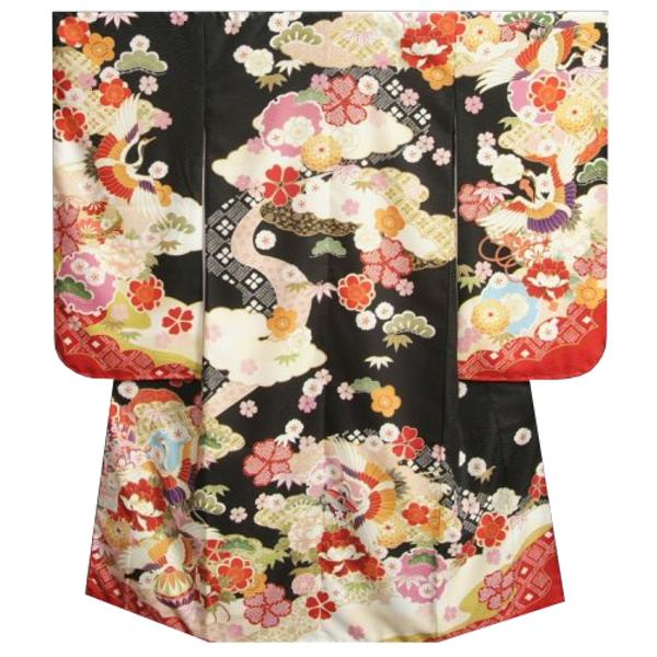 七五三着物7歳 女の子四つ身着物 式部浪漫 黒地色 百花繚乱 鶴 サヤ地紋生地 日本製