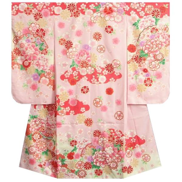 七五三着物 7歳 女の子四つ身着物 濃淡ピンクグラデーション まり 刺繍牡丹菊 ぼかし地紋生地