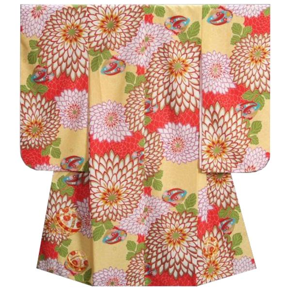 七五三 着物 7歳着物 フロム京都ブランド 黄色着物 狢菊 まり 金コマ刺繍 金彩使い