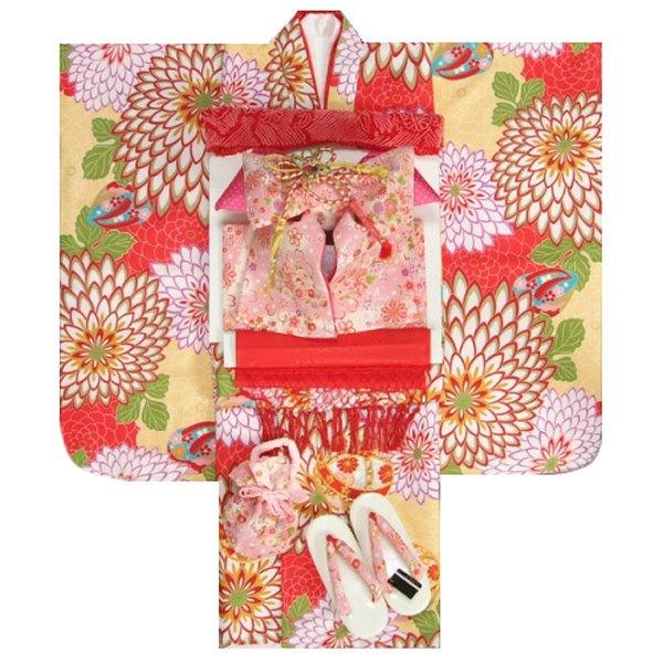 七五三 着物 7歳着物フルセット フロム京都ブランド 黄色着物 狢菊 金彩使い ピンクちりめん友禅文様帯セット 足袋に腰紐など20点フルセット