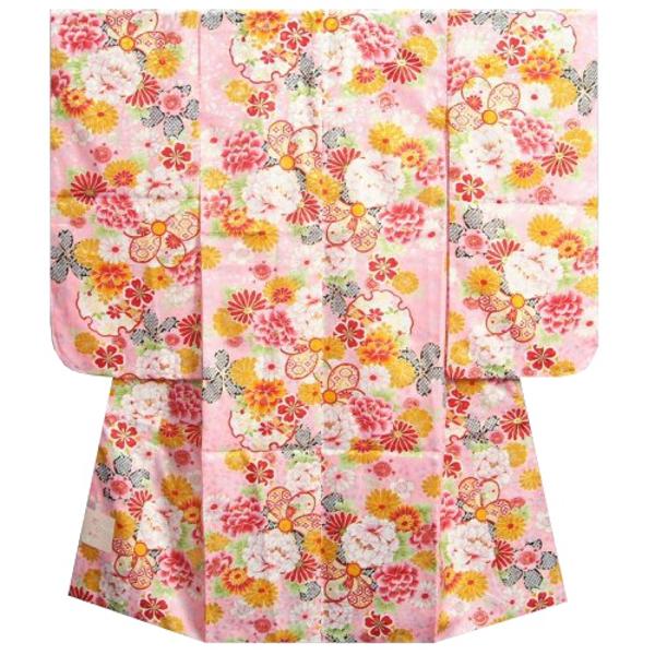 七五三着物 七歳 女の子四つ身着物 ピンク色地 桜 捻り梅 桜地紋