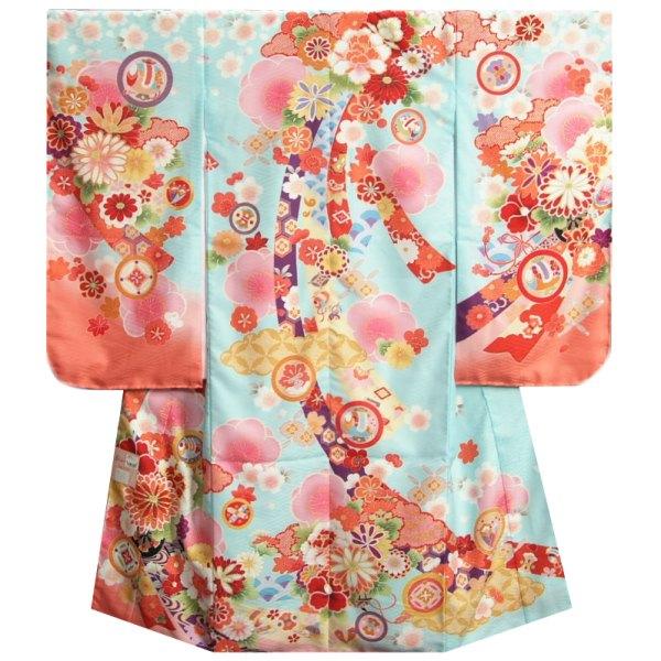七五三着物7歳 女の子四つ身着物 式部浪漫 水色地ピンク染め分け 菊 金糸刺繍 熨斗牡丹 日本製