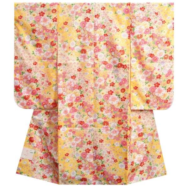 七五三着物7歳 女の子四つ身着物 濃淡黄色地 小柄有職縁起柄 サヤ地紋生地