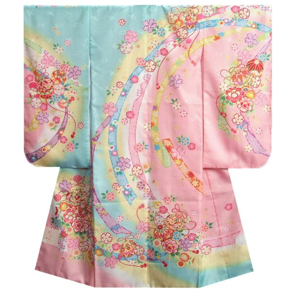 七五三着物 7歳女の子 四つ身着物 水色地三色ぼかし染め 桜 まり サヤ地紋