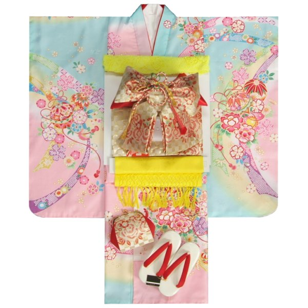 七五三 着物 7歳着物フルセット 水色ピンク三色ぼかし染め着物 金襴市松帯セット 足袋に腰紐など20点フルセット