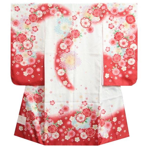 七五三 着物 7歳 女の子 白ピンク赤染め分け着物 桜 牡丹 流れぼかし サヤ地紋生地