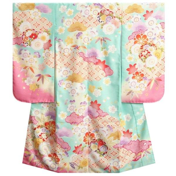 七五三着物7歳 女の子四つ身着物 式部浪漫 淡エメラルドグリーン桜ピンク色染め分け 桜七宝 金糸刺繍 日本製