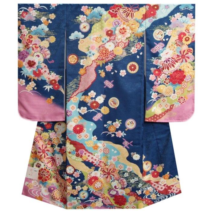 七五三着物 7歳 女の子四つ身着物 フロム京都ブランド FromKYOTO 青色ピンク染め分け 友禅柄 サヤ生地生地