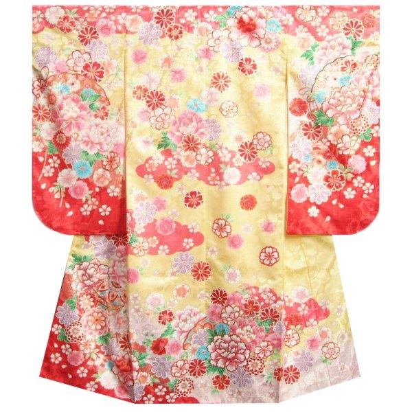 七五三着物 7歳 女の子四つ身着物 フロム京都ブランド FromKYOTO 黄色ピンク赤染め分け まり 金通し生地 薔薇地紋生地