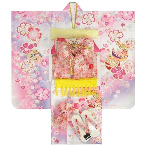 七五三 着物 7歳 女の子 着物フルセット 白色ぼかし流れ染め 重ね桜 ピンク友禅柄帯セット 足袋に腰紐など20点セット 日本製